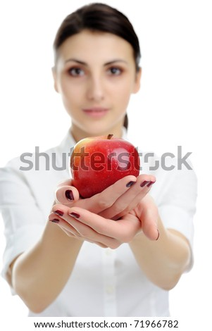 An image of nice woman holding red apple - stock photo