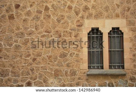 an image of old window on brick wall