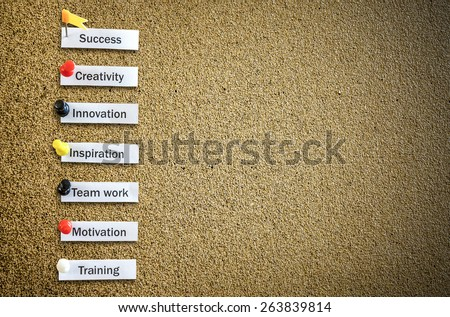 An image of paper and pin on cork board - stock photo
