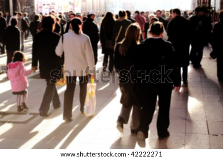 an image of people walking in rush hour - stock photo