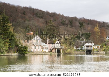 An image of property situated on the banks of the river Thames, Henley-On-Thames, Oxfordshire, England, UK