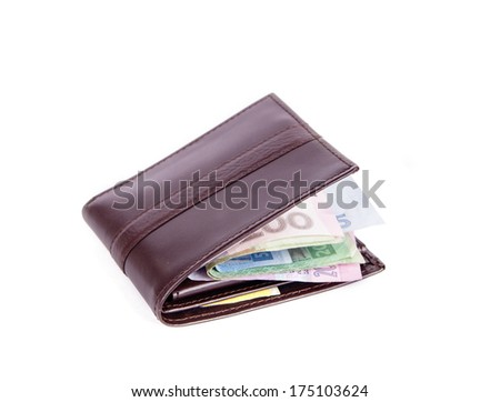 an image of purse with money on the white background