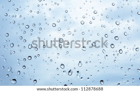 An image of raindrops on the window - stock photo