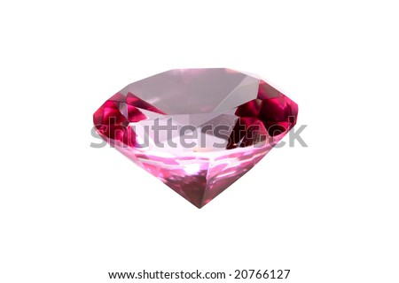 An image of red crystal isolated on white
