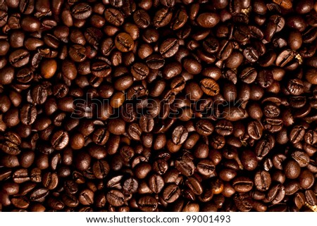 An image of roasted coffee beans as a food background. Coffee bean background.