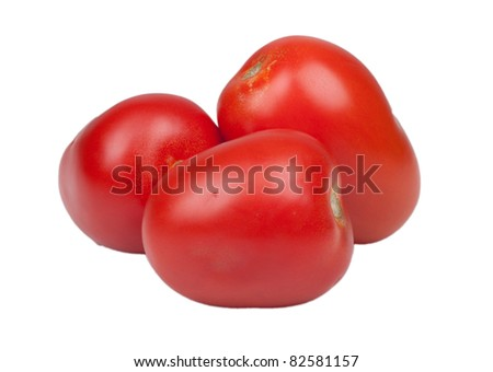 An image of roma tomatoes isolated on white. - stock photo