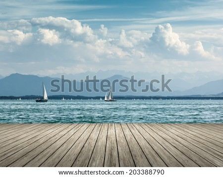 An image of sailing at Starnberg lake - stock photo