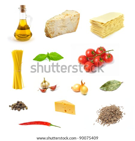 An image of set of various products of italian food