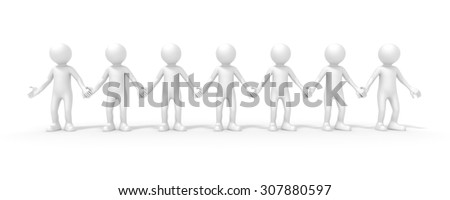 An image of seven people standing hand in hand