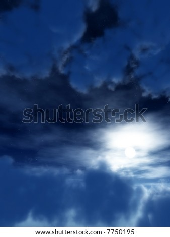 An image of some clouds and moon in a nighttime sky, it would make a good cloudy background.