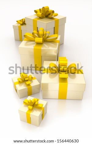 An image of some nice gift boxes with a yellow ribbon - stock photo