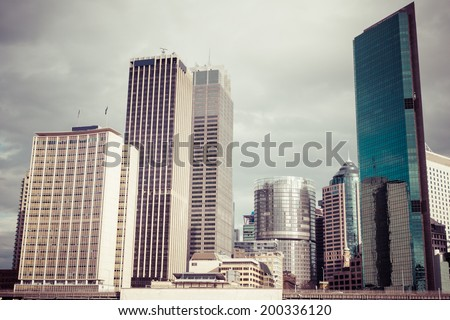 An image of some skyscraper in Sydney, process color - stock photo