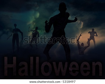 An image of some zombies with some nightime clouds behind them, with the word Halloween in the foreground.
