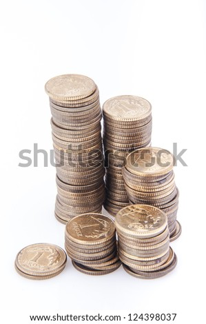 An image of stack of polish money on white