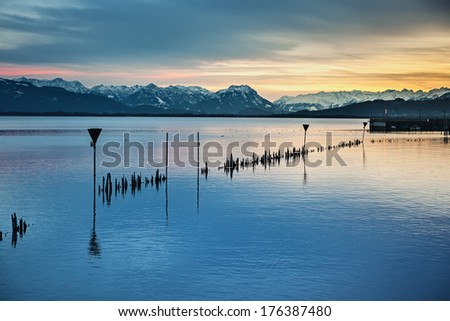 An image of the alps by night at Lake Constance  - stock photo