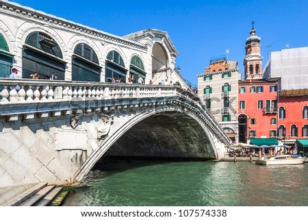 An image of the beautiful Rialto bridge in Venice Italy - stock photo