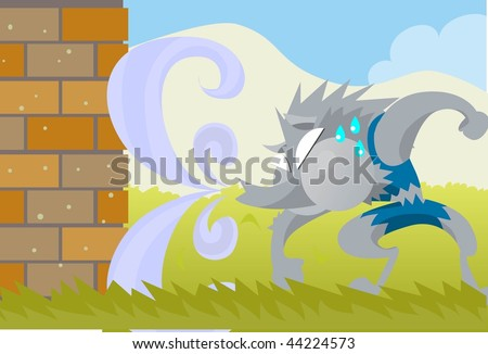 An image of the big bad wolf trying to huff and puff and blow the brick house down
