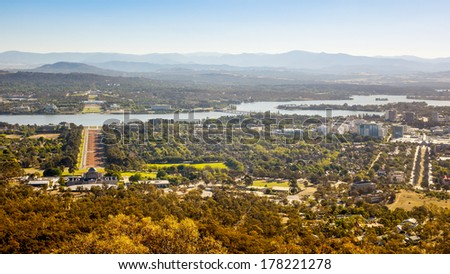 An image of the capital city of Australia - Canberra - stock photo