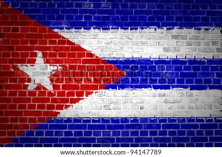 An image of the Cuba flag painted on a brick wall in an urban location - stock photo