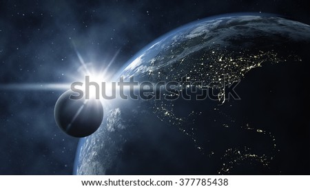 An image of the earth with the moon from space - stock photo