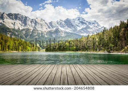 An image of the Eibsee and the Zugspitze in Bavaria Germany - stock photo