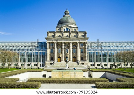 "An image of the famous building ""Bayerische Staatskanzlei"" in Munich Bavaria"