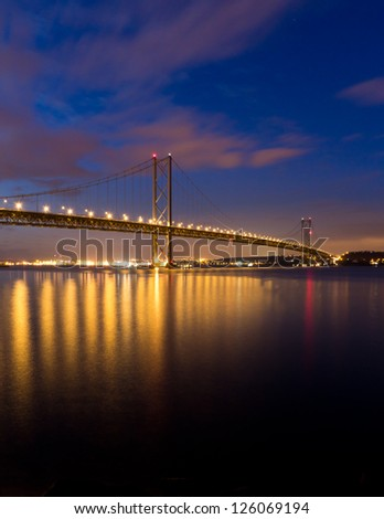 An image of the Forth Road Bridge by dusk.