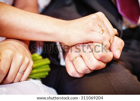 an image of the groom and the bride put on rings in the church
