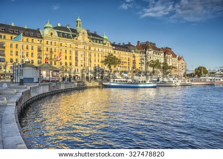 An image of the harbor in Stockholm - stock photo
