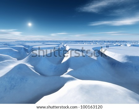 An image of the icy landscape at the north pole - stock photo