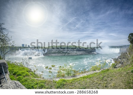 An image of the Niagara Falls from the Canadian side - stock photo