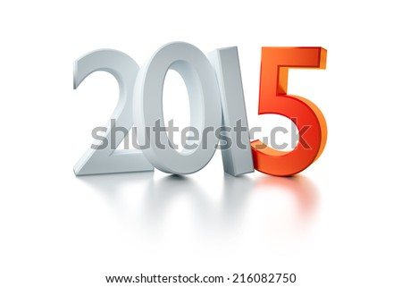 An image of the number 2015 with a red five - stock photo