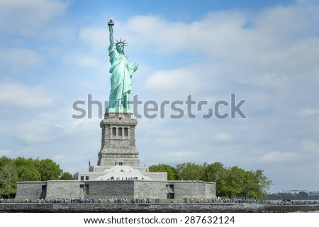 An image of the Statue of Liberty in New York - stock photo