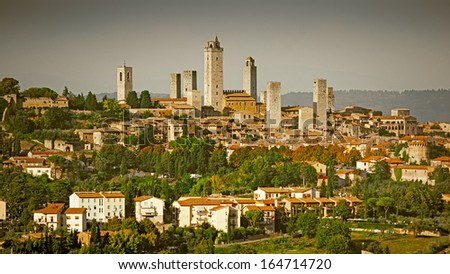 An image of the towers of San Gimignano in Italy - stock photo