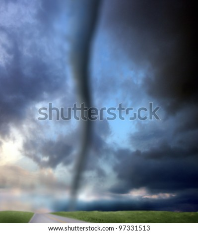 an image of tornado and road