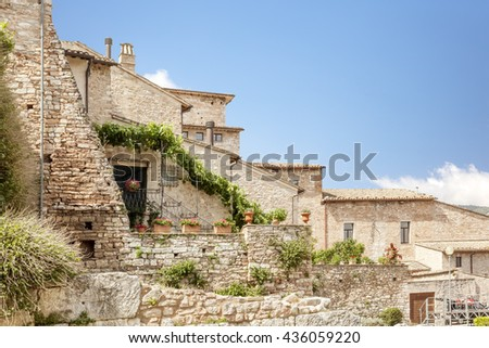 An image of typical houses in Italy - stock photo