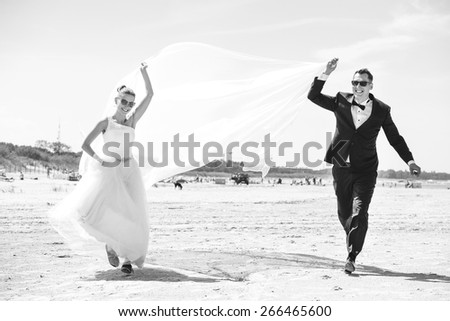 an image of wedding session on the beach - stock photo