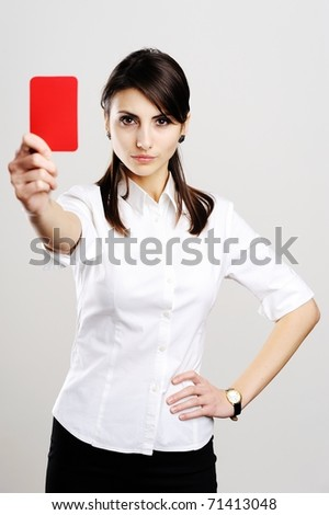 An image of young beautiful woman showing red card - stock photo