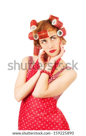 An image of young housewife on white background