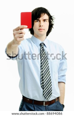 An image of young man with red card - stock photo