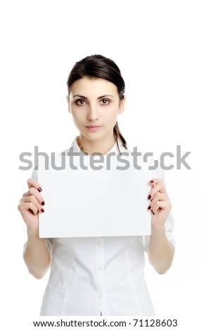 An image of young woman holding white paper - stock photo