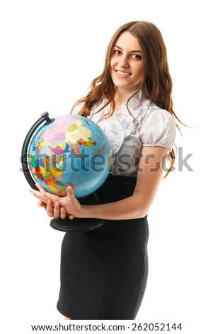 An image of young women with globe isolated on white background