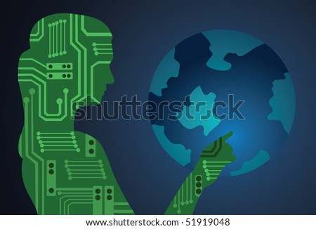 An image showing a silhouette of a woman made from electronic circuits touching the globe