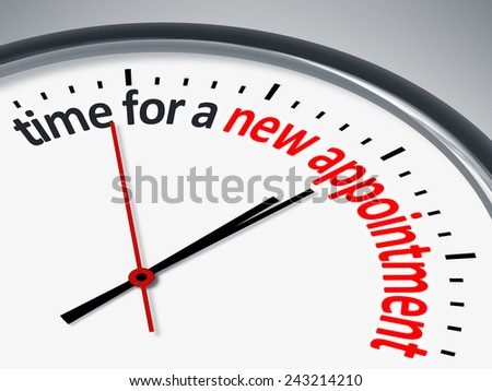 An image with a clock and the message time for a new appointment