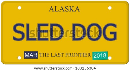 An imitation Alaska License Plate with the words SLED DOG and the Last Frontier making a great concept.