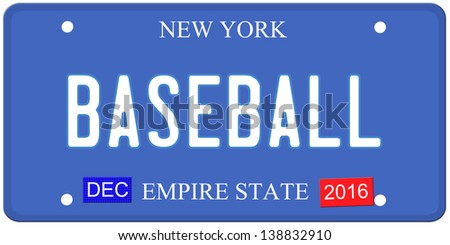 An imitation New York license plate with December 2016 stickers and BASEBALL written on it making a great concept.  Words on the bottom Empire State.