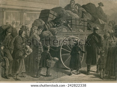 An Immigrant Wagon packed with baggage, is followed by a procession of immigrants heading for the train station and destinations in the US interior. 1870's.