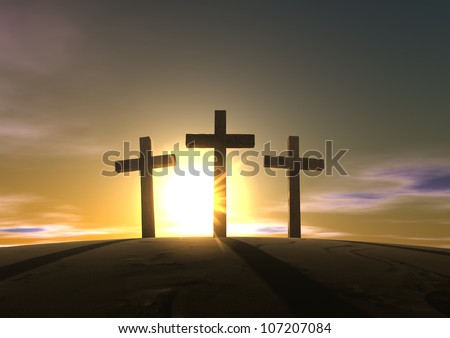 An impression of the three crosses on the mountain golgotha representing the day of christs crucifixion in a sunrise - stock photo