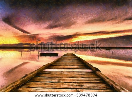 An impressionist oil painting of sunset on the Fleet Lagoon in Dorset - stock photo