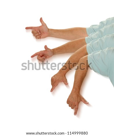 An index finger moves up to point at something - stock photo